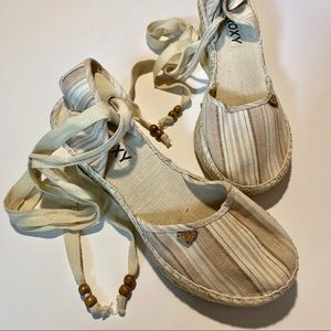 Roxy Lace Up Canvas Espadrille Wedge Sandals 7 1/2